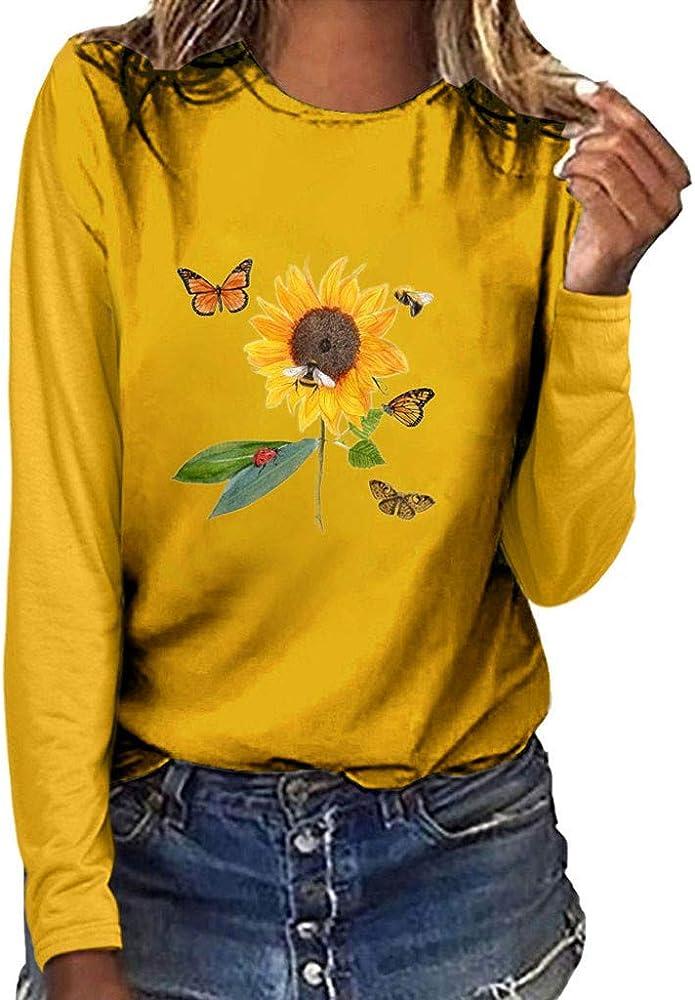 WARMWORD Camisas de Manga Larga, Mujer Camisetas Algodón Manga Larga Girasol Mariposa Impresión Camisas Casual Cuello Redondo Tops con Cuello Redondo y Manga Larga Estampado Floral para Mujer: Amazon.es: Ropa y accesorios