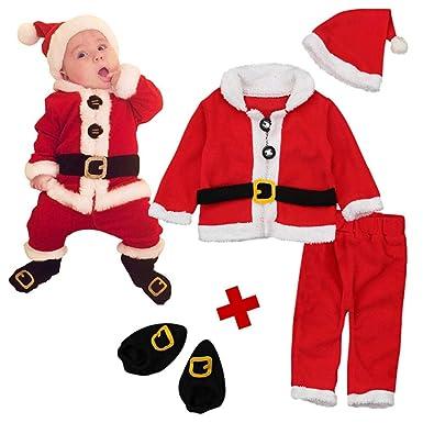 Amazon.com: Juego de 4 piezas de disfraz de Papá Noel para ...