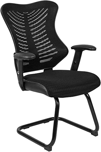 Flash Furniture Designer Black Mesh Sled Base Side Reception Chair
