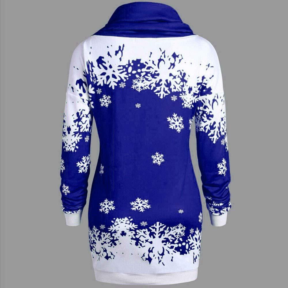YESOT Fashion Women Merry Christmas Snowflake Printed Tops Cowl Neck Winter Long Sleeve Sweatshirt Blouse