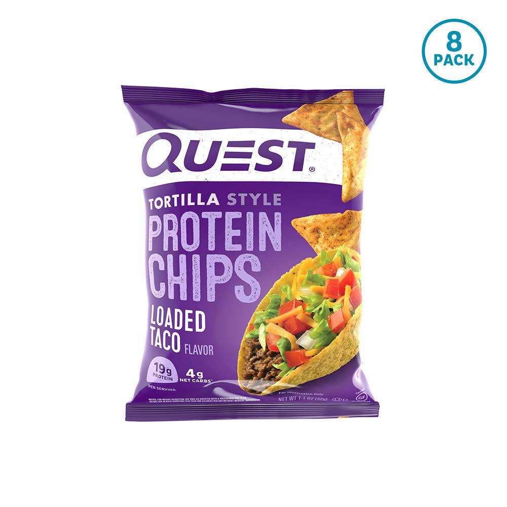 Quest Nutrition Tortilla Style Protein Chips, Loaded Taco, Low Carb, Gluten Free, Baked, 8 Count by Quest Nutrition
