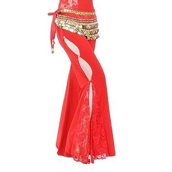 Calcifer Sólido Encaje Side Slits Pantalones de Danza del Vientre Traje Dancewear para Mujer Profesional Dancer