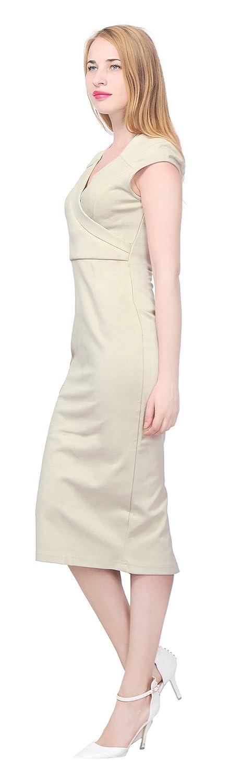 fe0ff1cbc3c Marycrafts Women s Elegant Pencil Midi Dress Work Office Business 20 Tan at  Amazon Women s Clothing store