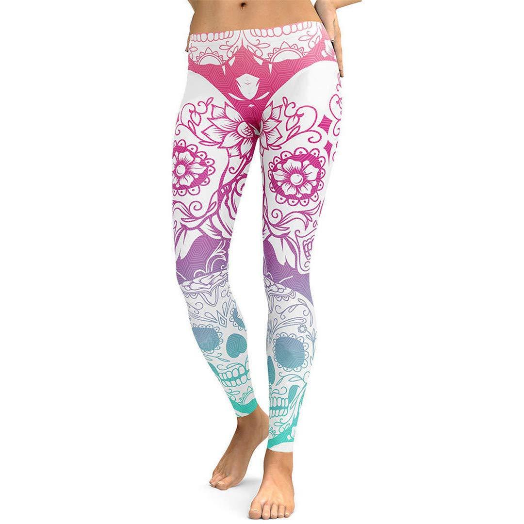 Leggings da Allenamento Push up Fitness Stampati 3D Donna Gothic Rose Flower Skull Plus Size Pantaloni a Vita Alta Punk Rock