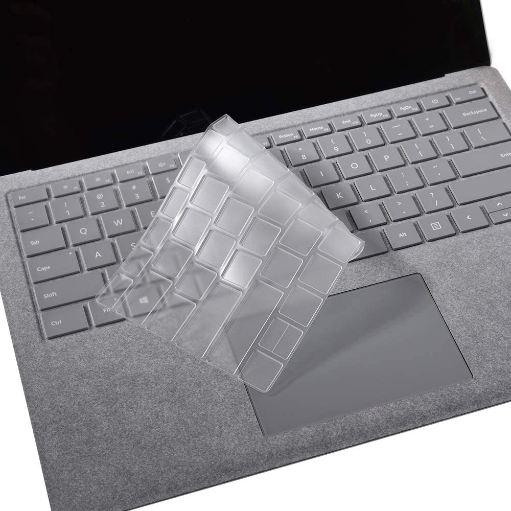 XISICIAO Premium Ultra Thin Keyboard Cover for Microsoft Surface Laptop 3 (2019 Released)/ 2/1, Surface Book 3/2 (2017/2018 Released) TPU Protector, US Layout/Thin Waterproof Silicone Keyboard Skin