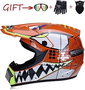 Motocross Helmet ATV Motorcycle Helmet SUV Mask + Goggles + Gloves,Personality Shark Teeth Dirt Bike Downhill Off-Road Mountain Bike Helmet 4-Piece Set Unisex,Orange,L