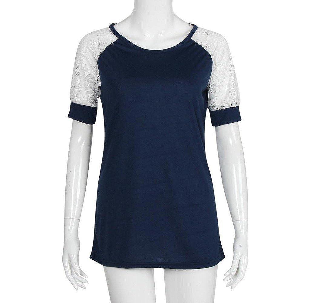 Tongshi Moda Mujer Verano Blusa Casual Tops De Manga Corta De Encaje Camiseta Tee (Medium, Azul profundo): Amazon.es: Ropa y accesorios