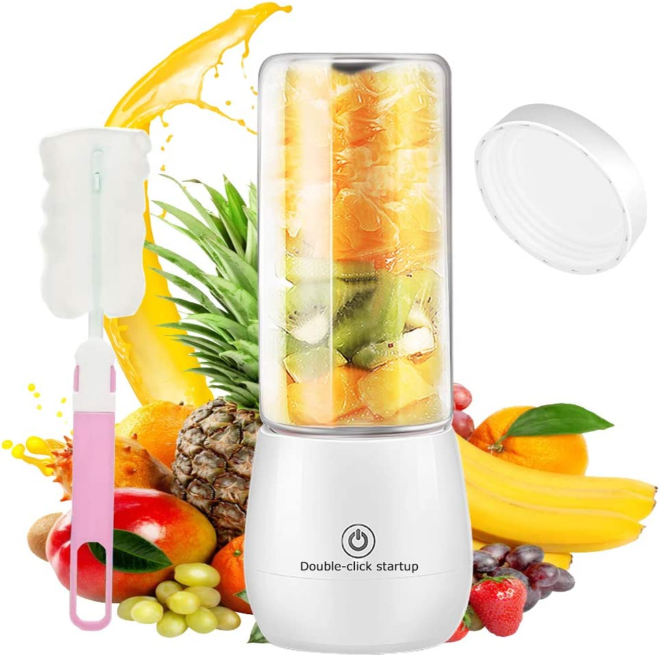 Portable Blender, Multifunctional Personal Size Blender for Smoothies and Shakes, Mini Blender USB Rechargeable Juicer Cup with 6 Powerful Blades 450ml 4000mAh (White)