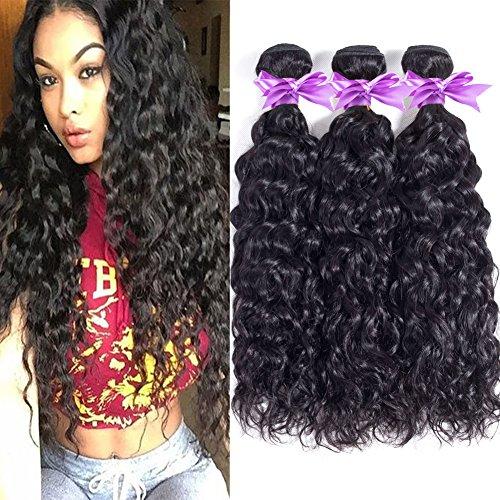 Brazilian Virgin Hair Water Wave 4 Bundles 8A Unprocessed Brazilian Hair Natural Weave Human Hair Extensions Natural Color (16 18 20 22) Review