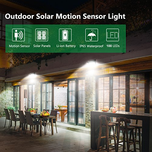 Solar Lights Outdoor 100 LEDs , Motion Sensor Wireless Waterproof Security Light, Solar Lights for Garden, Patio, Yard, Driveway, Garage, Porch , Pathway by Luposwiten [2PACK] by Luposwiten (Image #1)