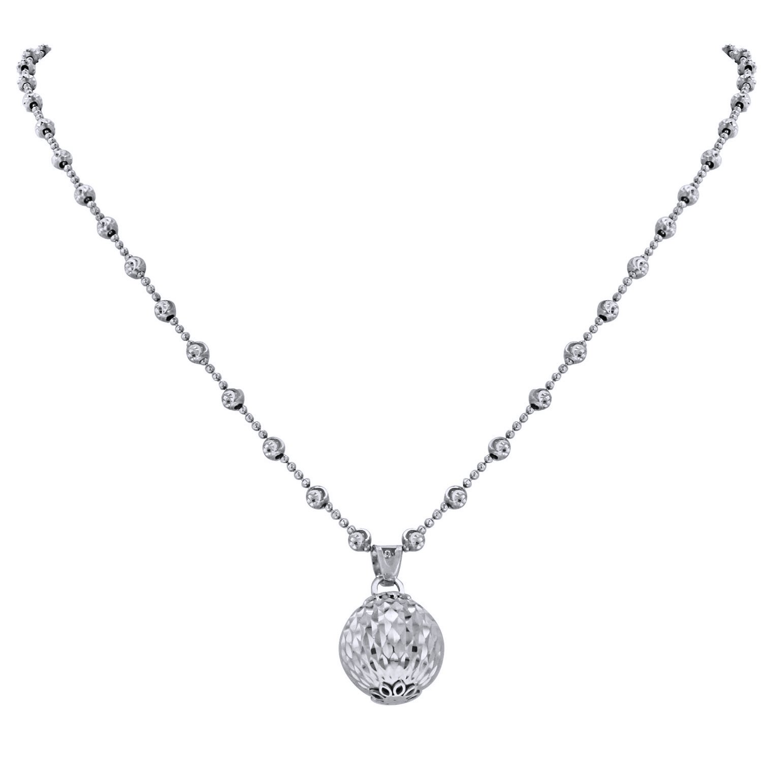 Officina Bernardi Sterling Silver Station Ball Necklace, 18'' with 2'' Extender (White)