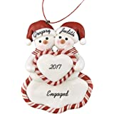 """Engaged Snow Couple Holding Heart Personalized Christmas Ornament - Calliope Designs - 4.5"""" tall - Handcrafted - Free Customization"""