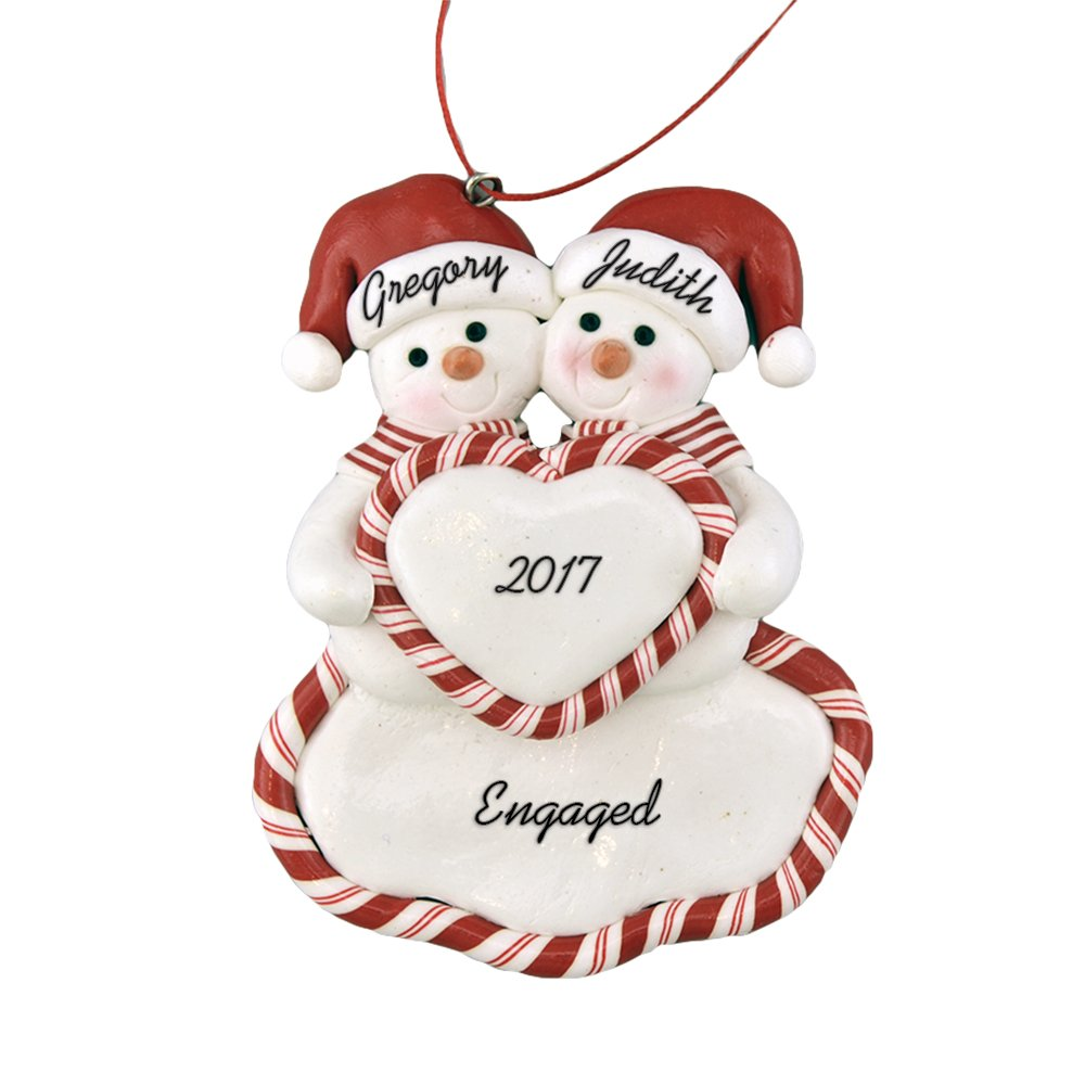 "Engaged Snow Couple Holding Heart Personalized Christmas Ornament - Calliope Designs - 4.5"" tall - Handcrafted - Free Customization"