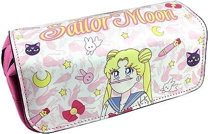 Sailor Moon Pen Bag Anime Cartoon Estuche de lápices Bolsos de papelería con doble cremallera Pen School Pens Bolsas Útiles escolares Útiles para la escuela/oficina (1): Amazon.es: Belleza