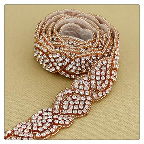(Bridal Applique Wedding Belt Applique Elegant Rose Gold Rhinestone Applique For Evening Dress)