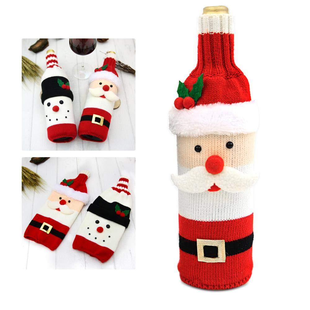 FOONEE copertura decorativa per bottiglia di vino di Natale Babbo Natale bottiglia di vino rosso con bottiglia di vino maglione sacchetti per festa di Natale e Capodanno Snowman