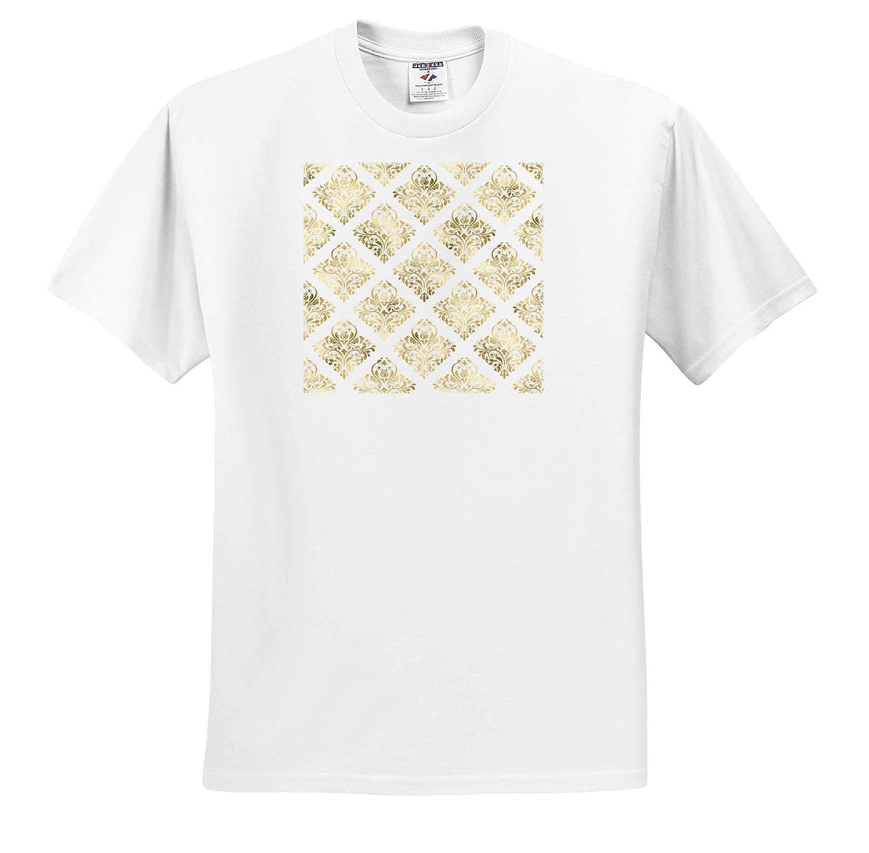 3dRose Anne Marie Baugh Patterns Elegant Gold Color Diamond Shapes Damask On White Pattern T-Shirts