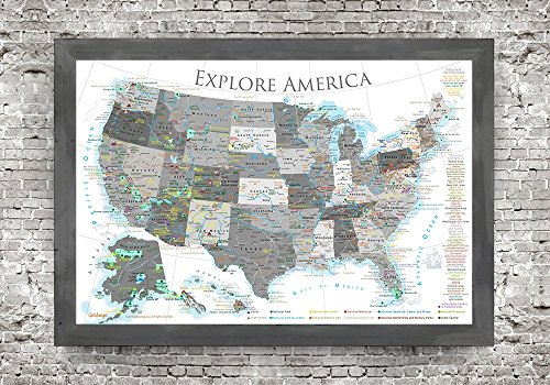 National Parks Push Pin Map - USA Travel Map - Large Framed