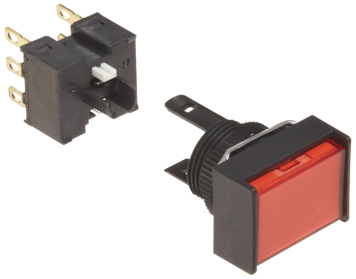 Omron A165-JRM-2 Two Way Guard Type Pushbutton and Switch, Solder Terminal, IP65 Oil Resistant, 16mm Mounting Aperture, Non-Lighted, Momentary Operation, Rectangular, Red, Double Pole Double Throw Contacts by Omron