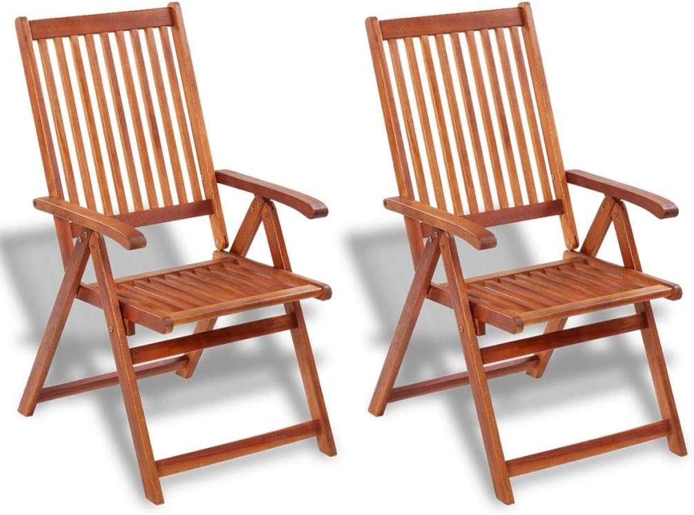 Galapara Wooden Outdoor Dining Chairs Garden Folding 2pcs Chairs Adjustable Seat 57 x 69 x 111 cm (W x D x H) Brown