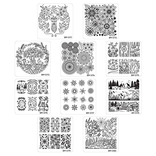 Bundle Monster 10pc Nature Themed Nail Art Stamp Plates - Mystic Woods, Set 1 (Squares Bundle)
