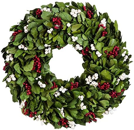 Cypress Home Christmas WreathRed and White Berries 18 inches