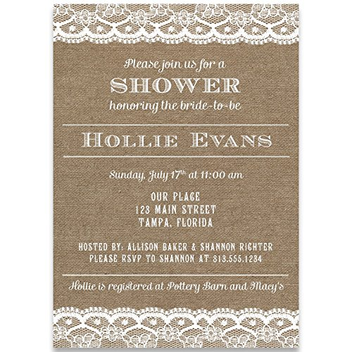 Country, Bridal Shower, Invitation, Burlap, Lace, Wedding, White, Chic Rustic, Set of 10 Printed Cards, Linen, ()