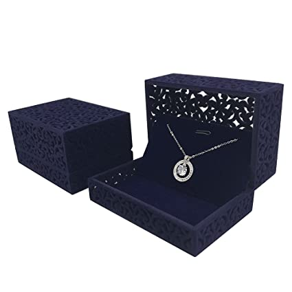 Designster Hollow Royal Blue Velvet Jewelry Long Necklace Box Chain Pendant Display Organizer Gift Box
