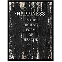 "Happiness Is The Highest Form Of Health - Dalai Lama Motivation Quote Saying Black Canvas Print Picture Frame Home Decor Wall Art Gift Ideas 7"" x 9"""