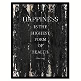 Happiness Is The Highest Form Of Health - Dalai Lama Motivation Quote Saying Black Canvas Print Picture Frame Home Decor Wall Art Gift Ideas 28'' x 37''