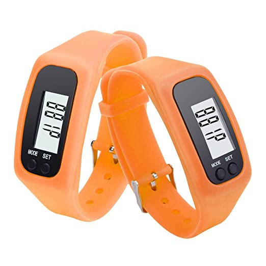 Pulsera de Reloj de Contador de calorías a pie a pie de Distancia podómetro LCD Digital (Naranja): Amazon.es: Relojes