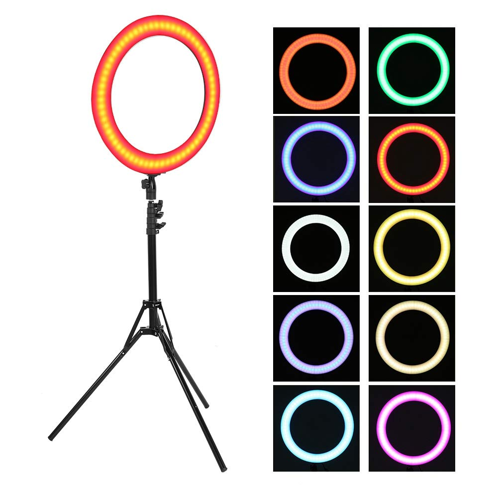 Fill Light, 18'Color LED Dimmbarer Lichtring Cool & Warm Light und RGB Seven Color mit Ständer für Video Live Makeup(01)