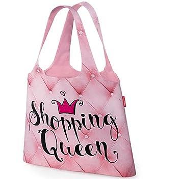 188e214a0e720 laVida 395471 Einkaufstasche Für Dich Motiv Shopping Queen zusammengefaltet  mit Druckknopf