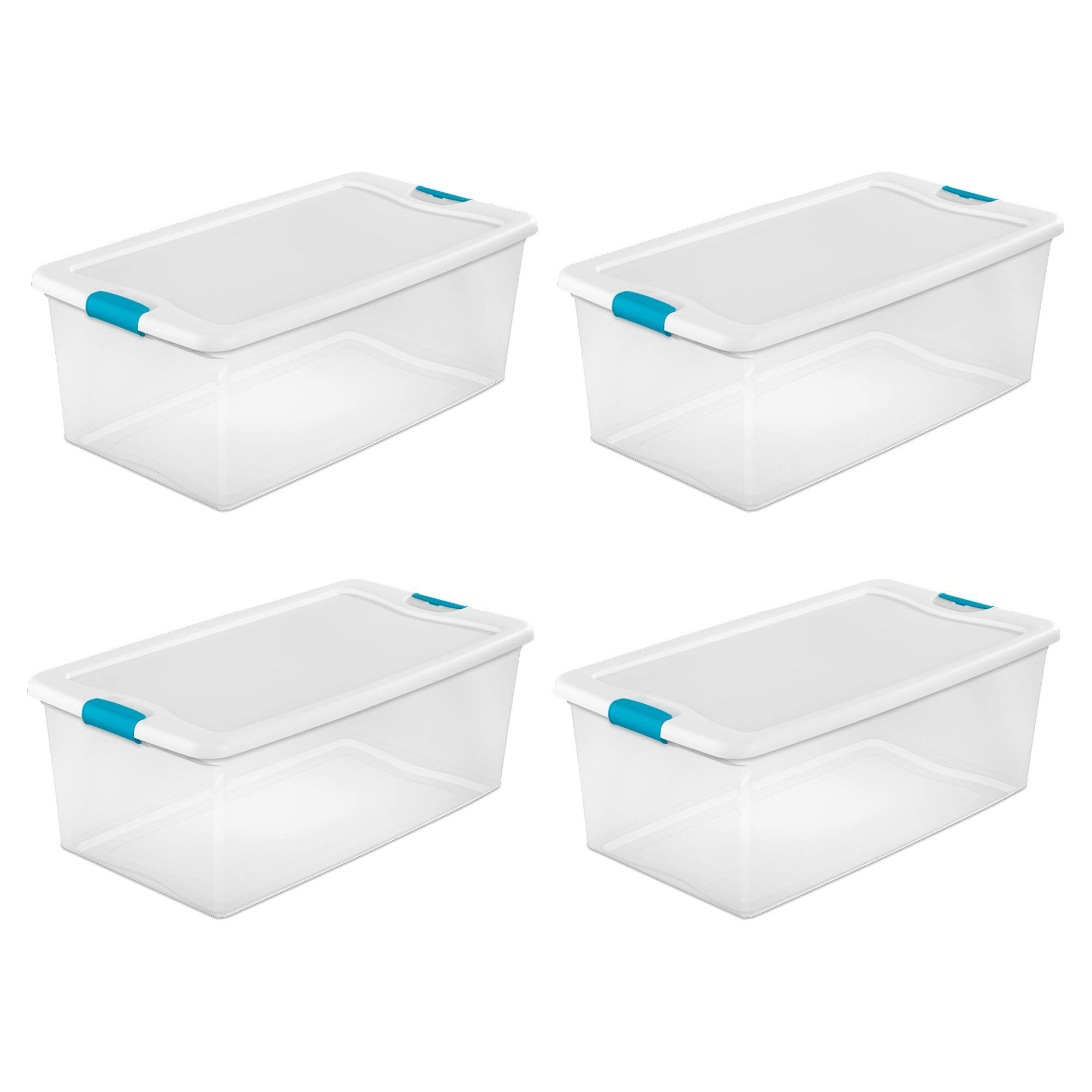 Sterilite 106-Qt. Clear Stackable Latching Storage Box Container, 4 Pack | 1499