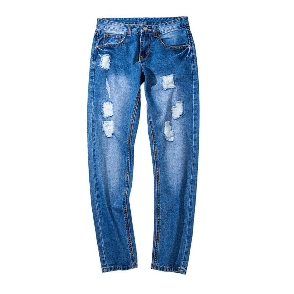 Chettova Casual Vintage Men Ripped Hole Hip Hop Pants Work Denim Trousers Jeans