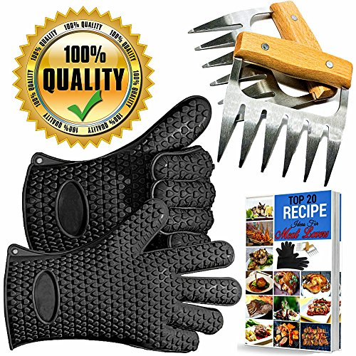 MEAT CLAWS - BBQ Pulled Pork Metal Shredder for Shredding and Lifting Chicken, Strongest Wooden Handle Stainless Steel Handling Forks + Premium Black Heat Resistant Cooking Gloves + Ebook (5pc Set)