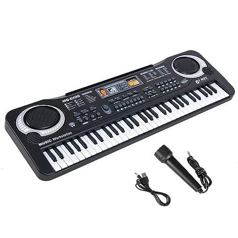 FONGFONG Teclados Electrónicos de 61 Teclas para Niños Multifuncion Piano con Micrófono Instrumento Musical Variedad de