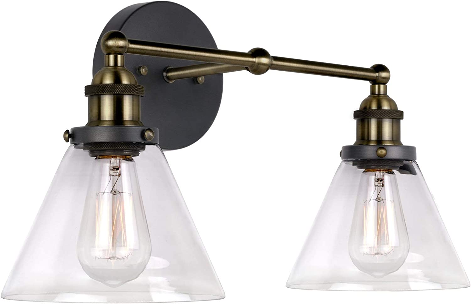 2 Brushed Oil Rubbed Bronze 12V RV Wall Sconce Horse Candle Glass Light