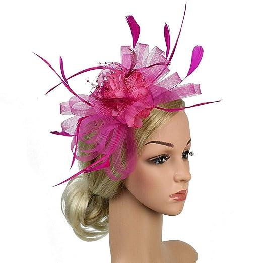 eeb259ca8 Ma.Lina.Ann Women Ladies Fascinator Hats Headband Gauze Feather Hat ...
