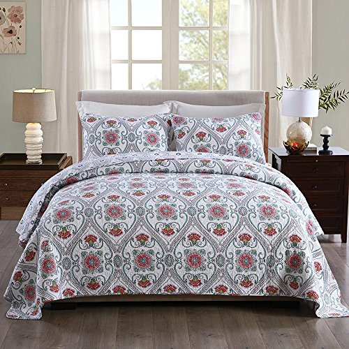 NEWLAKE Cotton Bedspread Quilt Sets-Reversible Patchwork Coverlet Set, Floral Paisley Garden Party Pattern, Queen Size - Garden Quilt Set