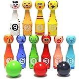 Jeu de bowling 10 Quilles et 3 Bowling Balle jouets pour enfants bois boule de bowling éducatifs interactifs