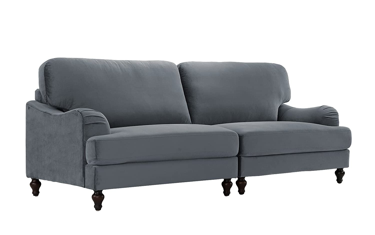 Classic 2 Piece Velvet Convertible Living Room Sofa, Adjustable Couch (Grey)