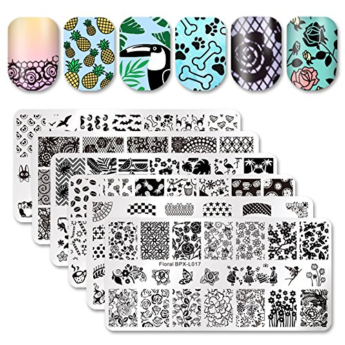 Born Pretty 6Pcs Nail Art Stamping Template Set French Design Flower Lace Cute Animal Manicure Print Image Plate