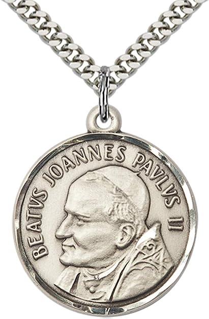 Sterling Silver Pope John Paul II Pendant 18 Chain