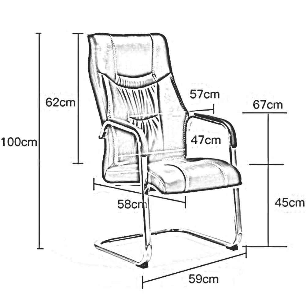 DALL kontorsstol rosett fot fast armstöd ergonomisk dator skrivbord stol PU kudde personalstol stålram konferensstol (färg: Brun) gUL