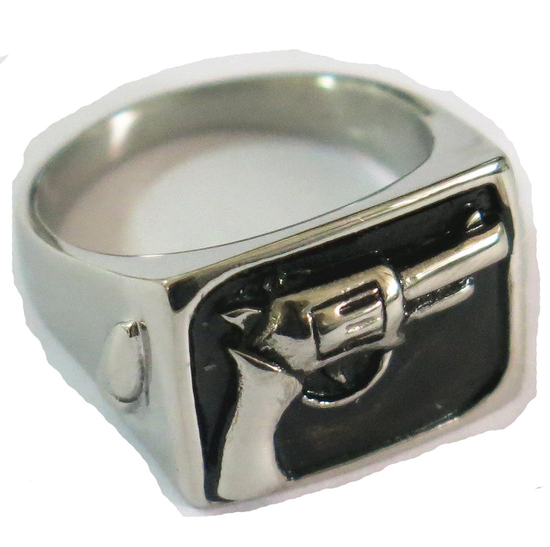 Revolver Hand Pistol Gun Silver Stainless Steel Biker Ring-SIZE 9