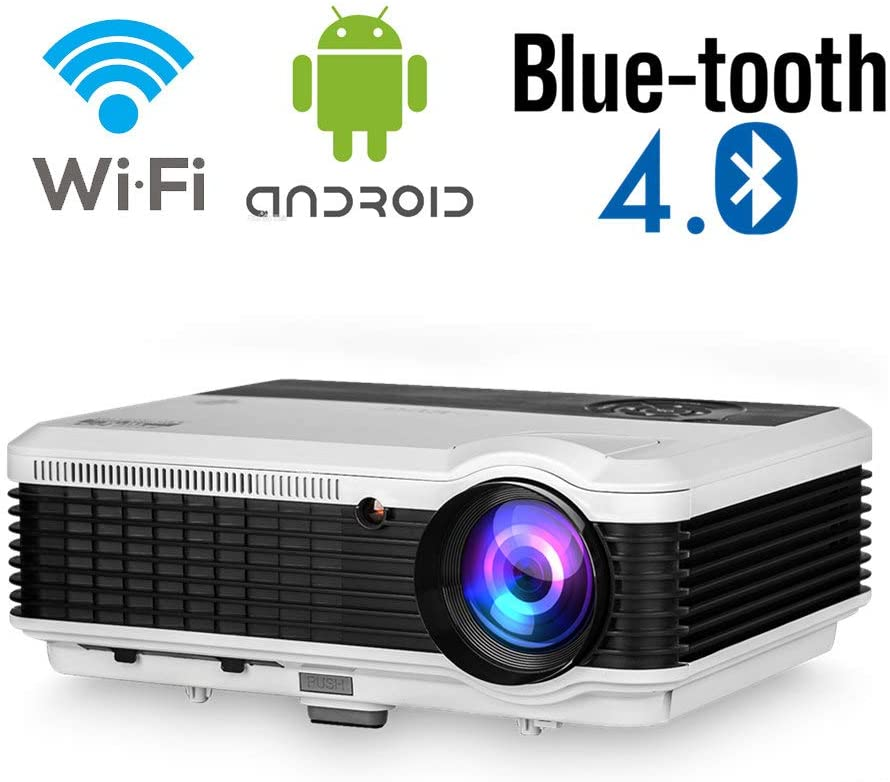 Bluetooth Wireless Home Theater Ceiling Projector Wifi Airplay HD 1080P Support LED LCD Smart Android Bluetooth Movie Projector 4800 Lumen HDMI USB for Video Games TV Phone DVD Laptop Outdoor Basement