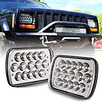 "(1 Pair) 5"" x 7"" 6x7inch Rectangular LED Headlights Hi/Low Beam H4 for Jeep Wrangler YJ Cherokee XJ Trucks 4X4 Offroad Headlamp Replacement H6054 H5054 H6054LL 69822 6052 6053"