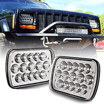 "(1 Pair) 5"" x 7"" 6x7inch Rectangular LED Headlights Hi/Low Beam H4 for Jeep Wrangler YJ Cherokee XJ Trucks 4X4 Offroad Headlamp Replacement H6054 H5054 H6054LL 69822 6052 6053"