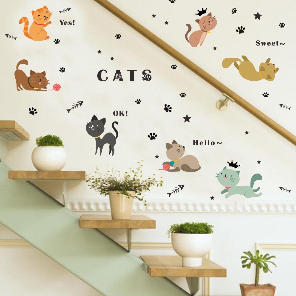 dragonhonor Cartoon Sweet Cat Cute Kitty壁画壁ステッカーデカールforベビー女の子男の子部屋Nersury装飾   B07717T9G7